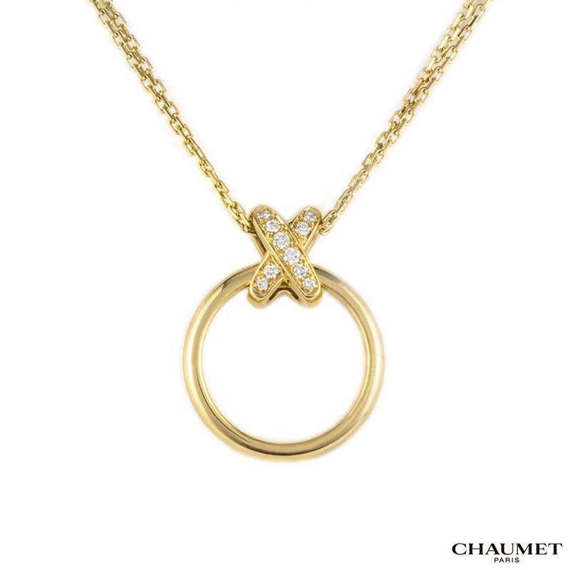 Chaumet 18k Yellow Gold Diamond Set Liens Pendant